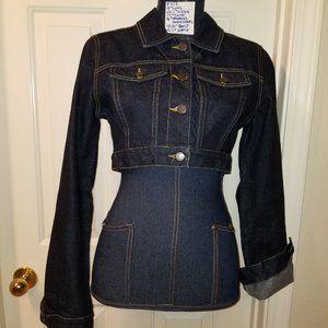 #373 NWOT Cropped Dark Denim BCBG MAXAZRIA Jacket